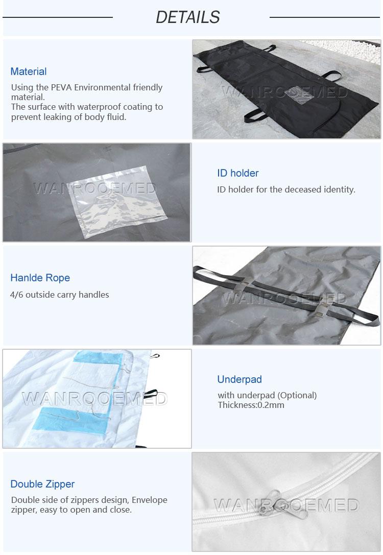 Body Bag, Funeral Cadaver Bag, PEVA Body Bag, Cadaver Bag, Coroner Body Bag, Mortuary Bag, Body Bag, Cadaver Bag With Handles